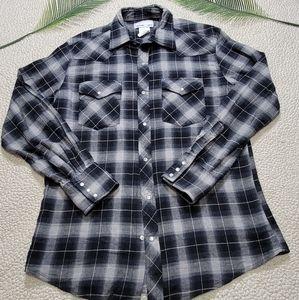 Wrangler Wrancher Pearl Snap Plaid Shirt Size M